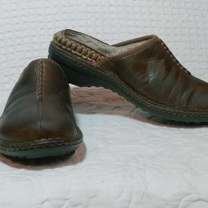 UGG Brown Leather Sheepskin Lined Mules